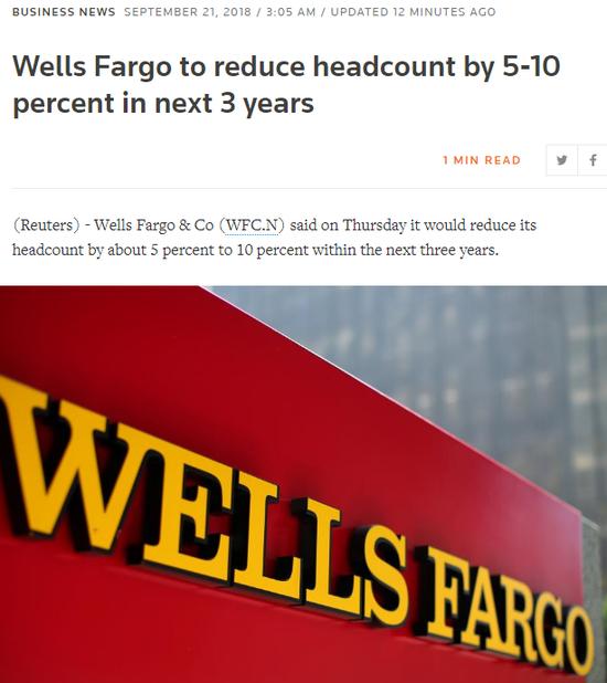 路透社:富國銀行將在未來三年內裁員5%至10%